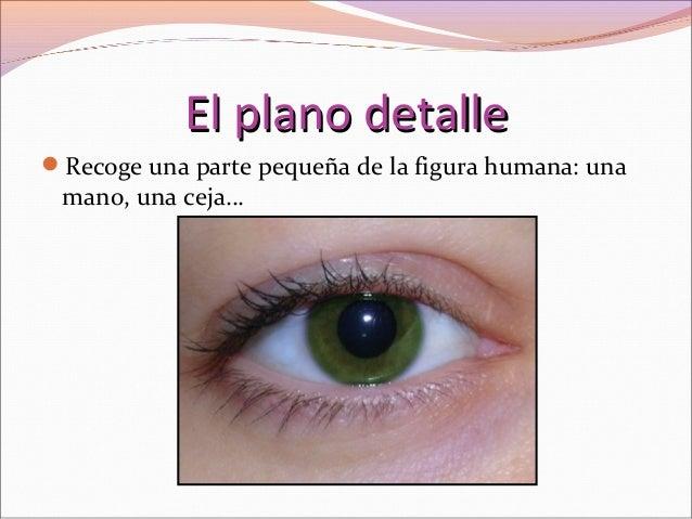 El plano detalleEl plano detalle Recoge una parte pequeña de la figura humana: una mano, una ceja…