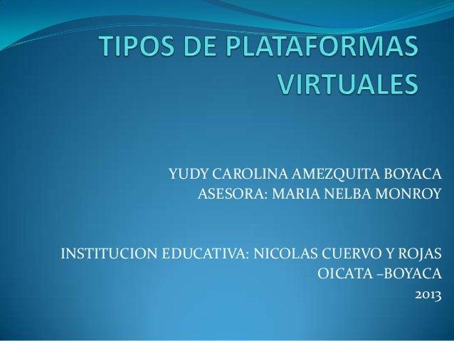 YUDY CAROLINA AMEZQUITA BOYACA ASESORA: MARIA NELBA MONROY  INSTITUCION EDUCATIVA: NICOLAS CUERVO Y ROJAS OICATA –BOYACA 2...