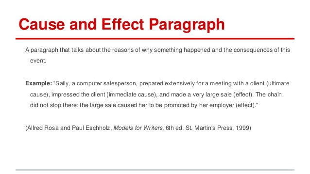 an example of a cause and effect essay