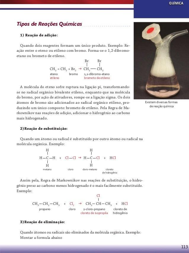 QUÍMICA  Tipos de Reações Químicas 1) Reação de adição: Quando dois reagentes formam um único produto. Exemplo: Reação ent...