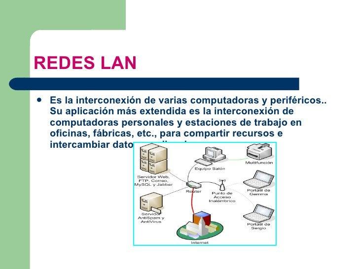 REDES LAN <ul><li>Es la interconexión de varias  computadoras  y  periféricos .. Su aplicación más extendida es la interco...