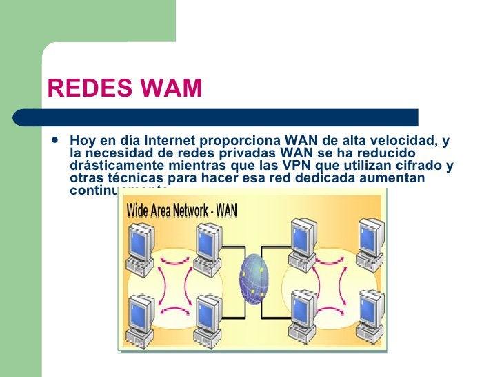 REDES WAM <ul><li>Hoy en día Internet proporciona WAN de alta velocidad, y la necesidad de redes privadas WAN se ha reduci...