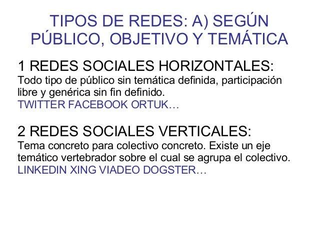 TIPOS DE REDES: A) SEGÚN PÚBLICO, OBJETIVO Y TEMÁTICA 1 REDES SOCIALES HORIZONTALES: Todo tipo de público sin temática def...
