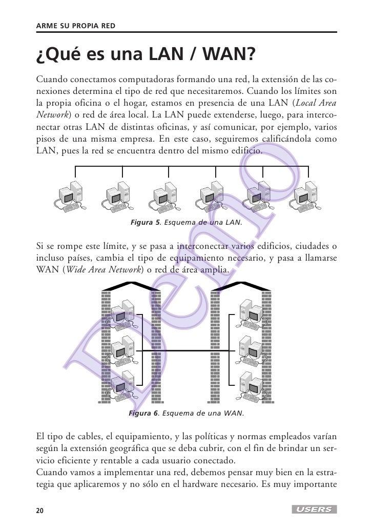 ARME SU PROPIA RED¿Qué es una LAN / WAN?Cuando conectamos computadoras formando una red, la extensión de las co-nexiones d...