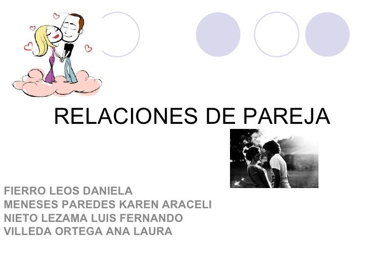 RELACIONES DE PAREJAFIERRO LEOS DANIELAMENESES PAREDES KAREN ARACELINIETO LEZAMA LUIS FERNANDOVILLEDA ORTEGA ANA LAURA