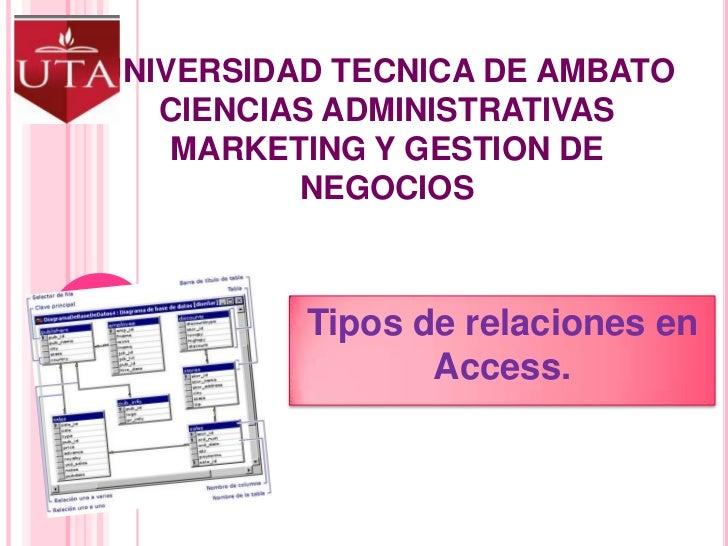 UNIVERSIDAD TECNICA DE AMBATOCIENCIAS ADMINISTRATIVASMARKETING Y GESTION DE NEGOCIOS<br />Tipos de relaciones en Access.<b...