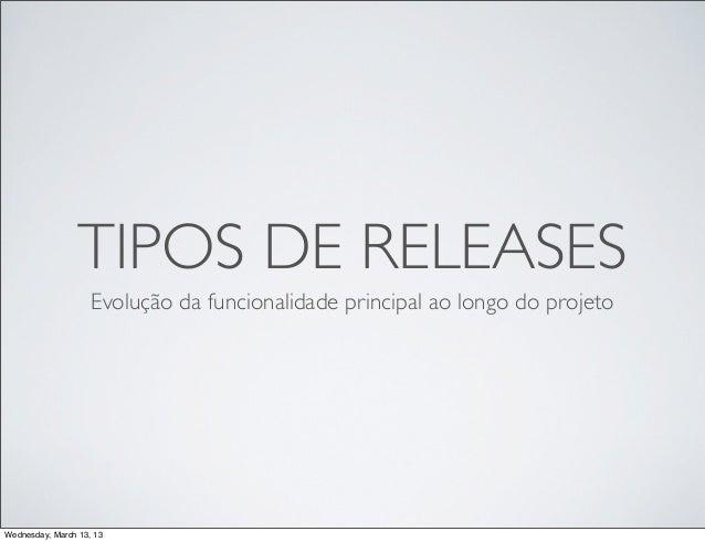TIPOS DE RELEASES                    Evolução da funcionalidade principal ao longo do projetoWednesday, March 13, 13