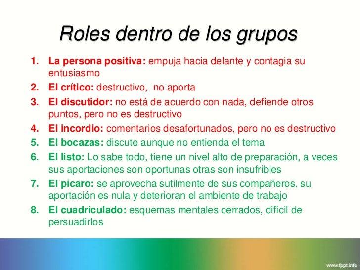 Roles dentro de los grupos1. La persona positiva: empuja hacia delante y contagia su   entusiasmo2. El crítico: destructiv...