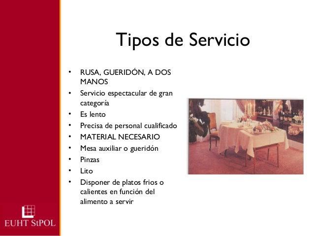 Tipos de servicio for Manual de funciones de un restaurante pdf