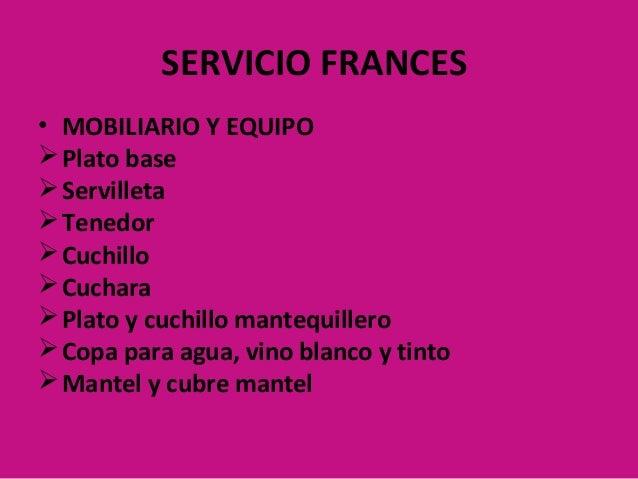 Tipos de servicio actividad restaurantes for Tipos de restaurantes franceses