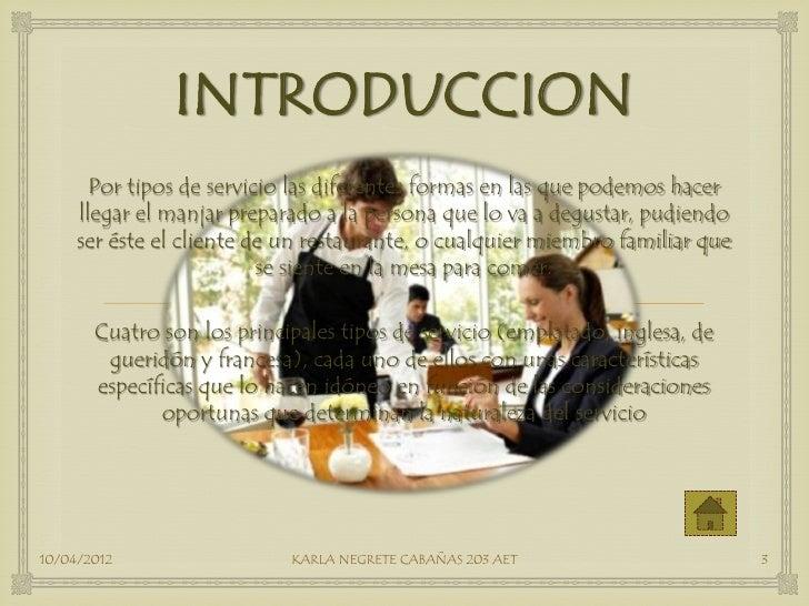 Tipos de servicio pdf for Introduccion a la cocina francesa