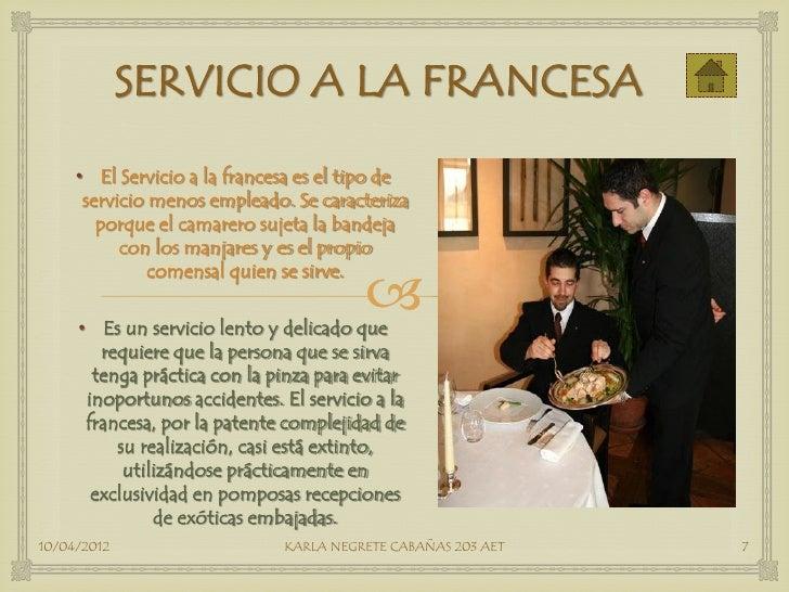 Tipos de servicio pdf for Tipos de restaurantes franceses