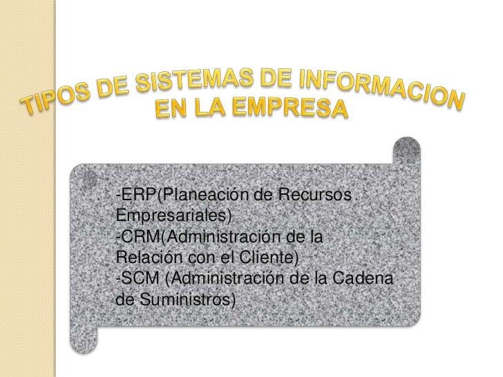 -ERP(Planeación de Recursos Empresariales) -CRM(Administración de la Relación con el Cliente) -SCM (Administración de la C...