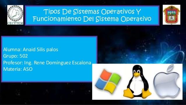 Tipos De Sistemas Operativos Y Funcionamiento Del Sistema Operativo Alumna: Anaid Silis palos Grupo: 502 Profesor: Ing. Re...