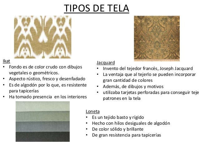 Tipos de textiles for Diferentes tipos de muebles