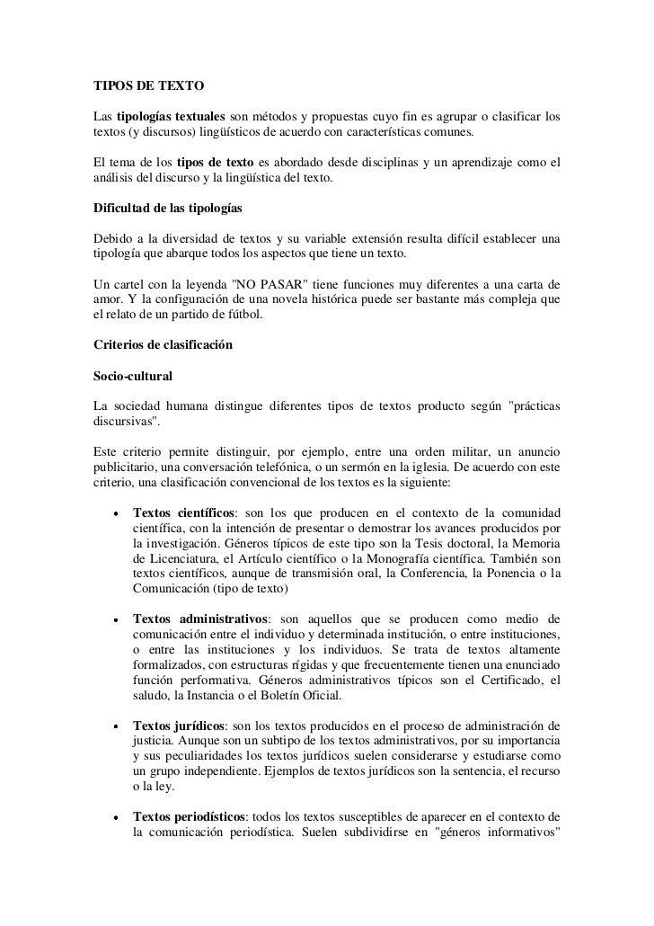 TIPOS DE TEXTO<br />Las tipologías textuales son métodos y propuestas cuyo fin es agrupar o clasificar los textos (y discu...