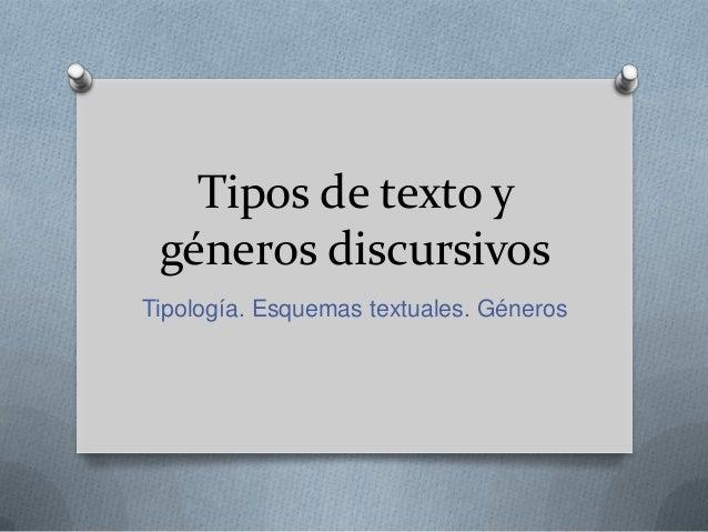 Tipos de texto y géneros discursivos Tipología. Esquemas textuales. Géneros