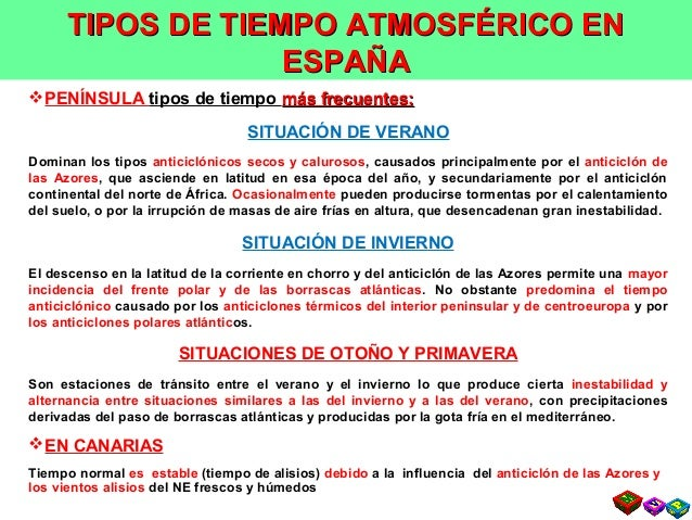 SITUACIONES METEOROLÓGICAS TÍPICAS EN ESPAÑA PENÍNSULA tipos de tiempo más frecuentes:más frecuentes: SITUACIÓN DE VERANO...