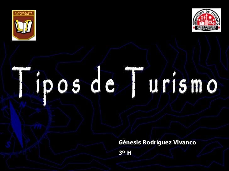 Tipos de Turismo Génesis Rodríguez Vivanco 3º H