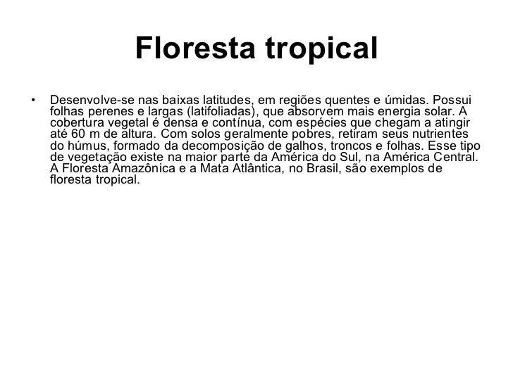 Floresta tropical <ul><li>Desenvolve-se nas baixas latitudes, em regiões quentes e úmidas. Possui folhas perenes e largas ...