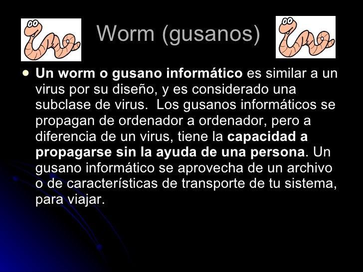 Worm (gusanos)  <ul><li>Un worm o gusano informático es similar a un virus por su diseño, y es considerado una subclase d...