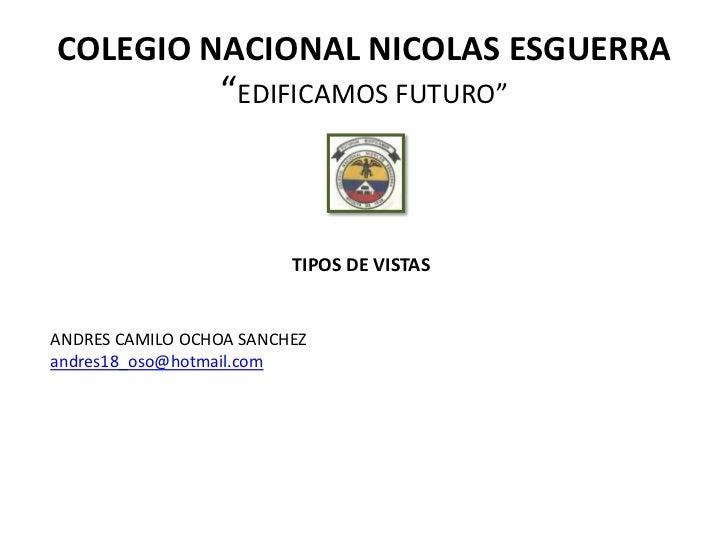 """COLEGIO NACIONAL NICOLAS ESGUERRA                 """"EDIFICAMOS FUTURO""""                         TIPOS DE VISTASANDRES CAMILO..."""