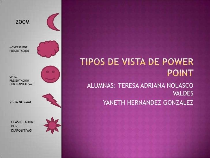 ZOOMMOVERSE PORPRESENTACIÓNVISTAPRESENTACIÓNCON DIAPOSITIVAS                   ALUMNAS: TERESA ADRIANA NOLASCO            ...