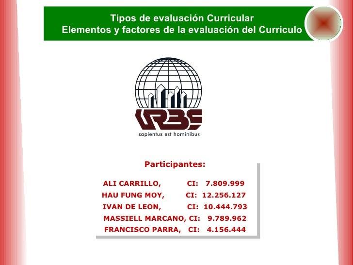 Participantes: ALI CARRILLO,  CI:  7.809.999  HAU FUNG MOY,  CI:  12.256.127  IVAN DE LEON,  CI:  10.444.793 MASSIELL MARC...
