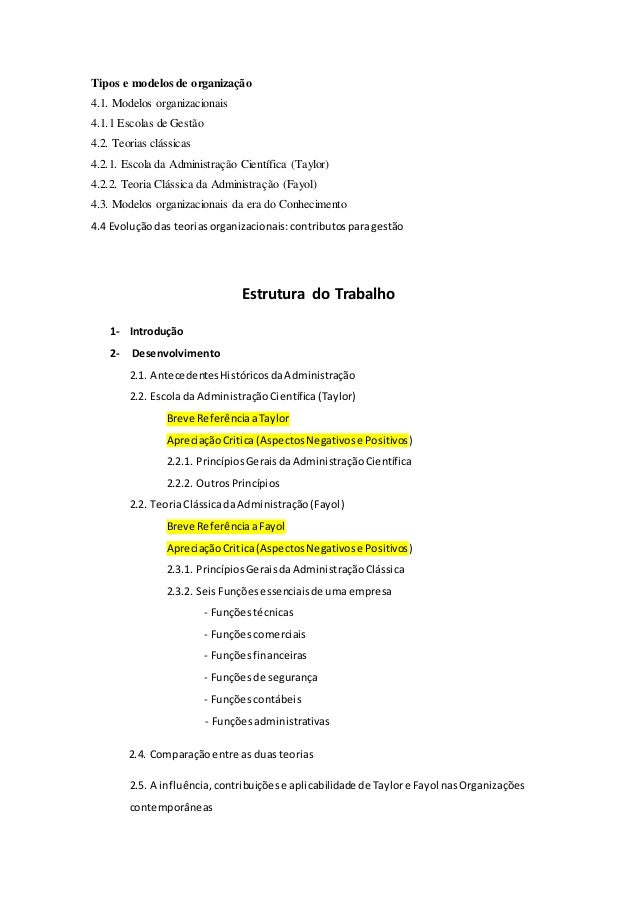 Tipos e modelos de organização  4.1. Modelos organizacionais  4.1.1 Escolas de Gestão  4.2. Teorias clássicas  4.2.1. Esco...