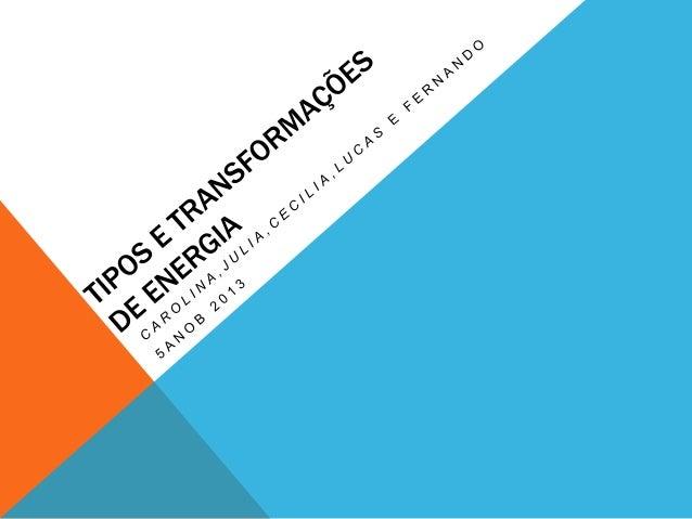 OBJETIVO DA APRESENTAÇÃO • • • • •  TIPOS DE ENERGIA TRANSFORMAÇÕES COMO OCORREM A IMPORTÂNCIA DAS TRANSFORMAÇÕS DÚVIDAS