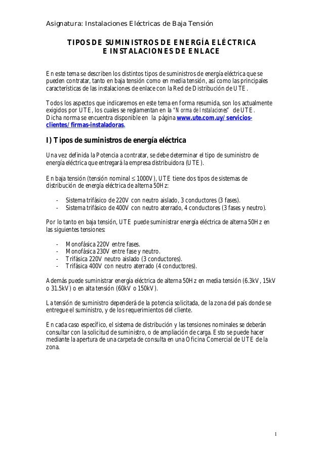 TIPOS DE SUMINISTROS DE ENERGÍA ELÉCTRICA E INSTALACIONES DE ENLACE