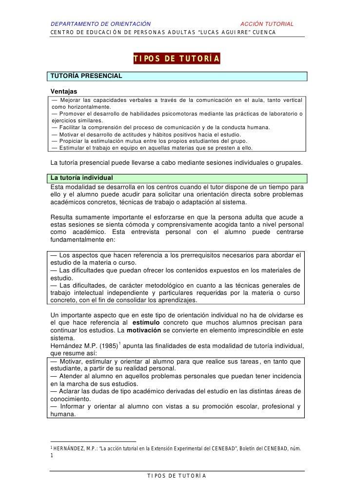 """DEPARTAMENTO DE ORIENTACIÓN                         ACCIÓN TUTORIALCENTRO DE EDUCACIÓN DE PERSONAS ADULTAS """"LUCAS AGUIRRE""""..."""