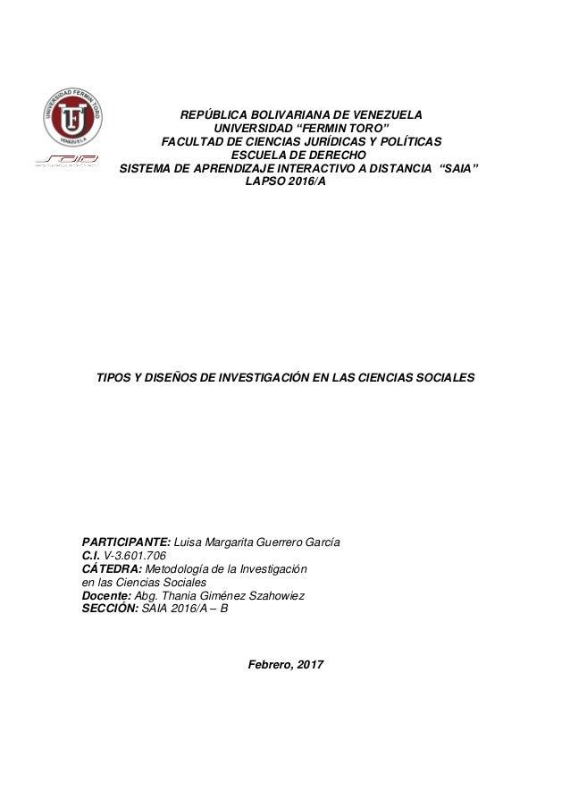 """REPÚBLICA BOLIVARIANA DE VENEZUELA UNIVERSIDAD """"FERMIN TORO"""" FACULTAD DE CIENCIAS JURÍDICAS Y POLÍTICAS ESCUELA DE DERECHO..."""