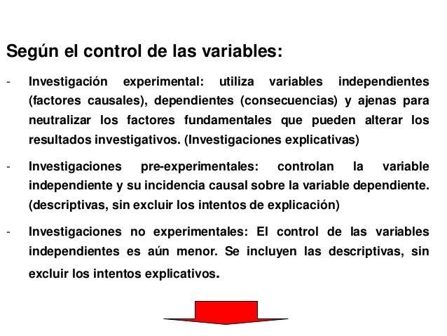 Según el control de las variables: - Investigación experimental: utiliza variables independientes (factores causales), dep...