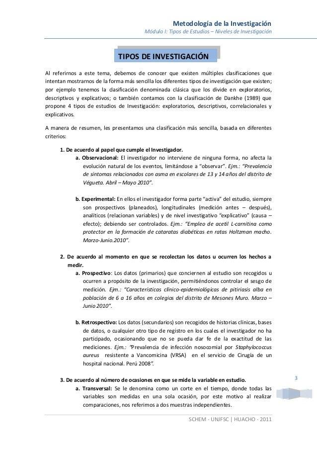 Metodología de la Investigación Módulo I: Tipos de Estudios – Niveles de Investigación SCHEM - UNJFSC | HUACHO - 2011 3 Al...