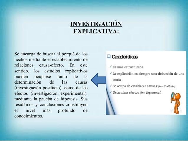 INVESTIGACIÓN EXPLICATIVA: Se encarga de buscar el porqué de los hechos mediante el establecimiento de relaciones causa-ef...