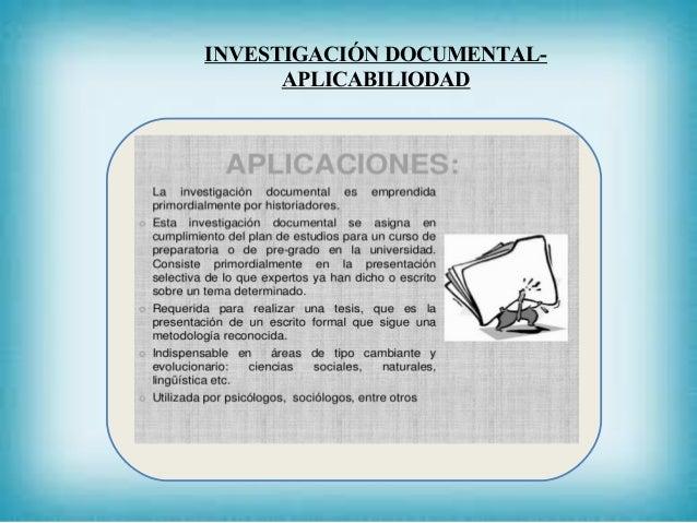 INVESTIGACIÓN DOCUMENTAL- APLICABILIODAD