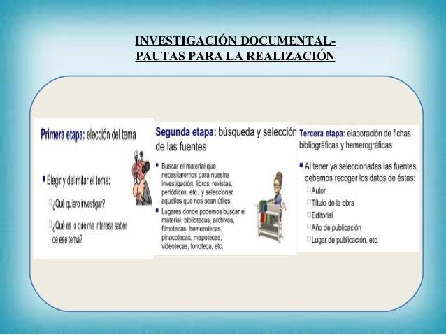INVESTIGACIÓN DOCUMENTAL- PAUTAS PARA LA REALIZACIÓN