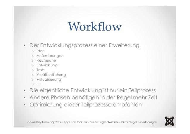 Workflow  • Der Entwicklungsprozess einer Erweiterung  o Idee  o Anforderungen  o Recherche  o Entwicklung  o Tests  o Ver...