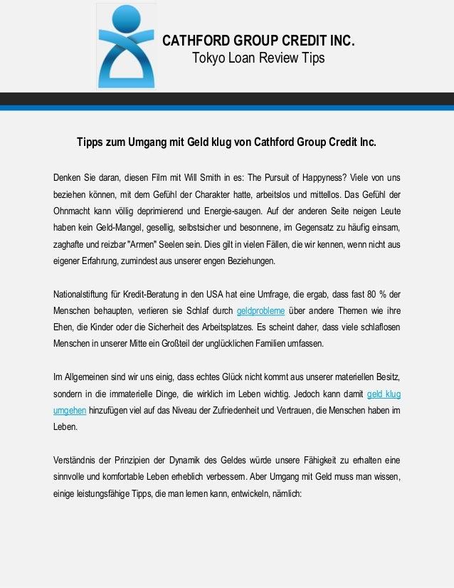 CATHFORD GROUP CREDIT INC. Tokyo Loan Review Tips Tipps zum Umgang mit Geld klug von Cathford Group Credit Inc. Denken Sie...