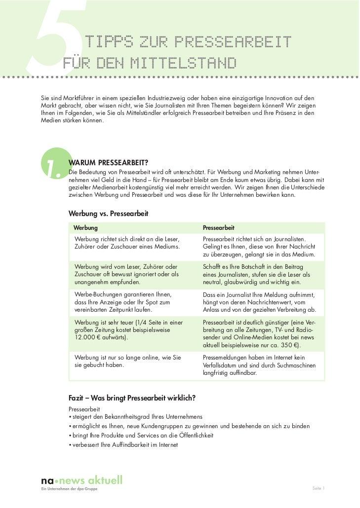 5               TIPPS ZUR PRESSEARBEIT        FÜR DEN MITTELSTANDSie sind Marktführer in einem speziellen Industriezweig o...