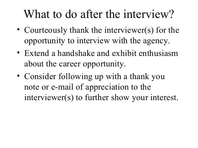 what to do after the interview