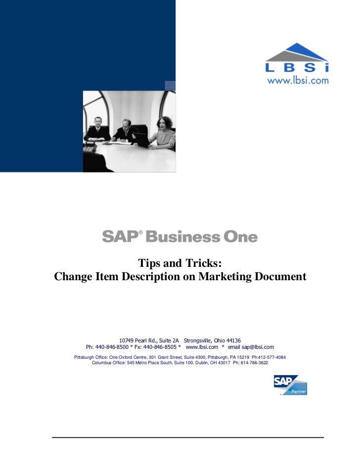 Tips and Tricks:Change Item Description on Marketing Document                     10749 Pearl Rd., Suite 2A Strongsville, ...