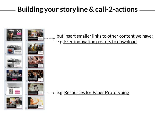 Building your storyline & call-2-actions e.g. Resources for Paper Prototyping but insert smaller links to other content we...