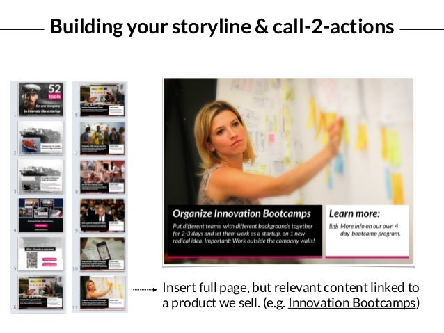 Building your storyline & call-2-actions Insert full page, but relevant content linked to a product we sell. (e.g. Innovat...