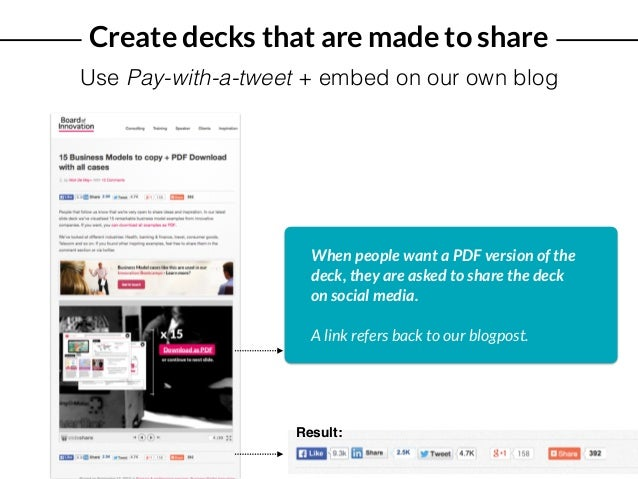Create decks that are made to share Use Pay-with-a-tweet + embed on our own blog When people want a PDF version of the dec...