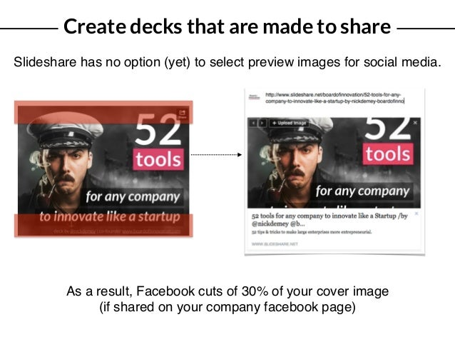 Create decks that are made to share Slideshare has no option (yet) to select preview images for social media. As a result,...