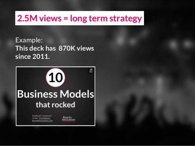 2.5M views = long term strategy Example: This deck has 870K views since 2011.