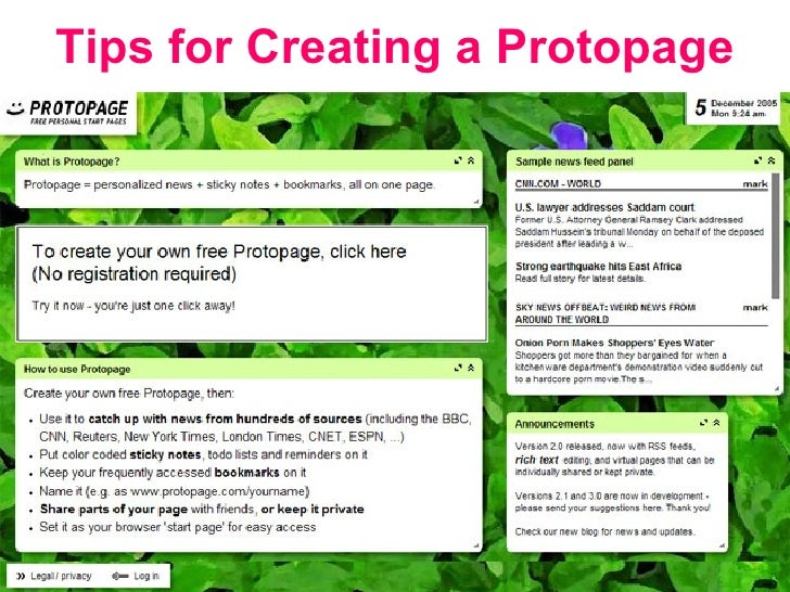 Gayle Underwood Tips for Creating a Protopage