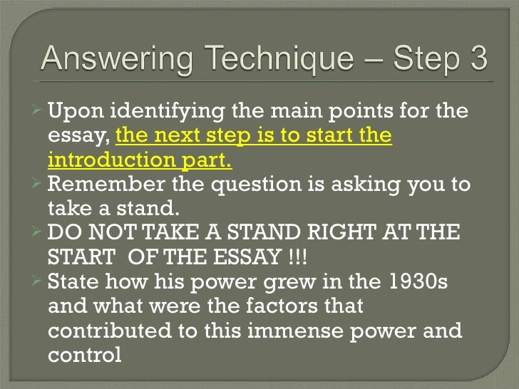 techniques in answering essay questions 1/65 tips of answering a level 3 essay question by dr bruce kuhlman, cfa, caia - level 3 manager first, a word of advice answer the question that is asked, not the question you wanted or.